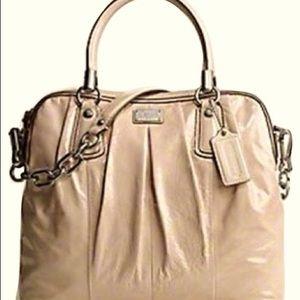 COACH Kristin Crinkle Patent Leather Satchel Beige